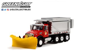 """1:64 2019 Mack Granite Dump Truck w/Snow Plow & Salt Spreader - """"Arlington Heights, IL P.W."""""""
