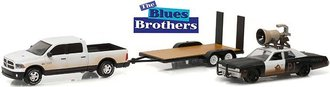"1:64 Blues Brothers (1980) 2015 RAM 1500 w/1974 Dodge Monaco ""Bluesmobile"" on Flatbed Trailer"