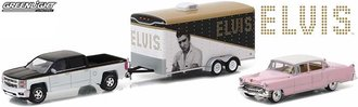 1:64 Hollywood Hitch & Tow Series 2 - Elvis Presley 2015 Silverado w/1955 Cadillac & Car Trailer