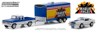 1:64 Charlie's Angels - 1972 Ford F-100 w/1976 Ford Mustang II Cobra II in Enclosed Car Hauler