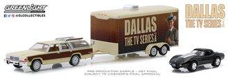 1:64 Dallas (TV Series) -1979 Ford LTD Country Squire w/1978 Corvette C3 in Enclosed Car Hauler