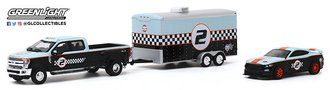 1:64 2019 Ford F-350 Dually w/2019 Ford Shelby GT350R Gulf Oil with Enclosed Gulf Oil Car Hauler