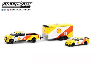 """1:64 2019 Ford F-350 Lariat w/Enclosed Car Hauler & 2021 Ford Mustang Mach 1 """"Shell Oil"""""""