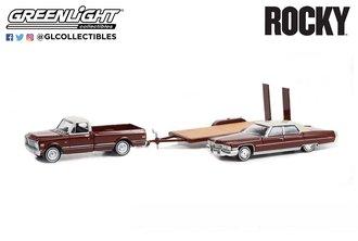1:64 Rocky (1976) - 1972 Chevrolet C-10 w/Rocky's 1973 Cadillac Sedan de Ville on Flatbed Trailer