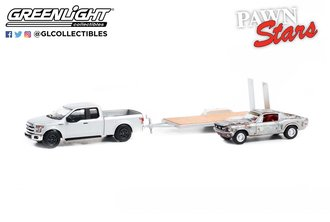 1:64 Pawn Stars - 2015 Ford F-150 w/Unrestored 1968 Ford Mustang GT Fastback on Flatbed Trailer