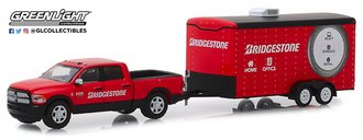 1:64 Hitch & Tow Series 17 - 2017 RAM 2500 Big Horn & Bridgestone Service Center Enclosed Car Hauler