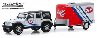 """1:64 Hitch & Tow Series 18 - 2015 Jeep Wrangler Unlimited w/ Small Cargo Trailer """"STP"""""""