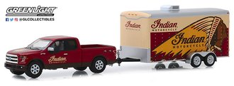 "1:64 Hitch & Tow Series 18 - 2017 Ford F-150 Pickup ""Indian Motorcycles"" w/Enclosed Car Hauler"