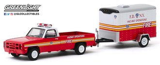 "1:64 1986 Chevrolet M1008 CUCV ""FDNY Haz-Mat Operations"" w/Small Cargo Trailer"