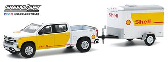 1:64 2019 Chevrolet Silverado Shell Oil & Small Shell Aviation Service Cargo Trailer