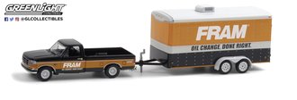 """1:64 Hitch & Tow Series 21 - 1994 Ford F-150 XLT with """"FRAM Oil Filters Enclosed Car Hauler"""""""