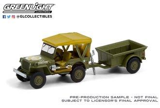 1:64 1943 Willys MB Jeep w/M5 Liquid Vesicant Detector Invasion Star w/¼-Ton Cargo Trailer