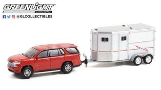 1:64 2021 Chevrolet Tahoe (Cherry Red Tintcoat) w/Horse Trailer
