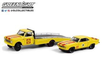 """1:64 1967 Chevrolet C-30 Ramp Truck """"Shell Oil"""" w/1969 Chevrolet Camaro """"Shell Oil"""" Trans Am"""
