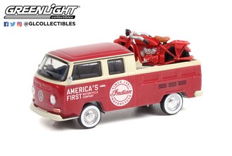 1:64 1968 Volkswagen Type 2 Double Cab Pickup - Indian Motorcycle w/1920 Indian Scout Motorcycle