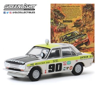 "1:64 1969 Datsun 510 4-Door Sedan #90 1969 Mexican 1000 ""Datsun Rallys To The Cause"""