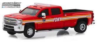 "1:64 Dually Drivers Series 2 - 2018 Chevrolet Silverado 3500 Dually Pickup ""FDNY"" (Red)"