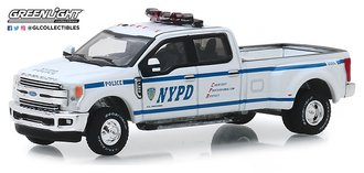 "1:64 Dually Drivers Series 2 - 2019 Ford F-350 Dually Pickup ""NYPD"" (White)"