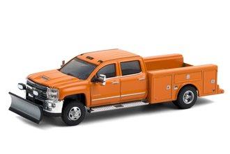 1:64  2018 Chevrolet Silverado 3500 Dually Service Bed - (Tangier Orange w/Snow Plow)