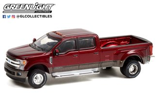 1:64 Dually Drivers Series 7 - 2019 Ford F-350 Dually - Ruby Red and Stone Gray
