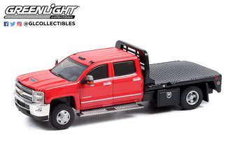 1:64 Dually Drivers Series 8 - 2016 Chevrolet Silverado 3500HD Dually - Red w/Black Flatbed