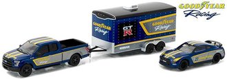 1:64 Hitch & Tow Racing - Goodyear Racing - 2015 Ford F-150 & 2014 Nissan GT-R w/Enclosed Car Hauler