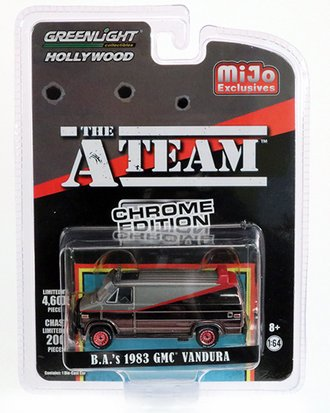 1:64 Hollywood - The A-Team (Chrome Edition) - B.A.'s 1983 GMC Vandura (Matte Grey/Black Chrome)