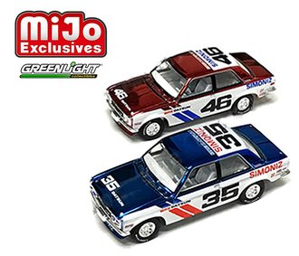 1:64 BRE Datsun (Chrome Edition) 2-Pack - 1971 BRE Datsun 510 #46 (Red Chrome) & #35 (Blue Chrome)