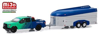 """1:64 Hitch & Tow - 2017 Ford F-150 Pickup w/Aerovault """"Falken Tires"""" (Green/Blue)"""