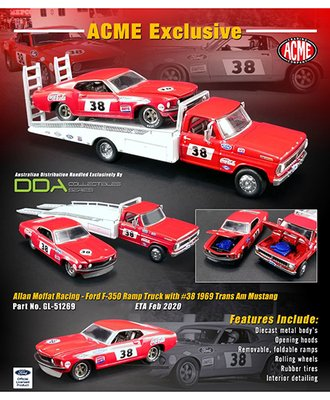 1:64 Ford F-350 Ramp Truck w/1969 Trans Am Mustang