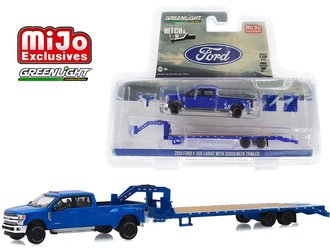 1:64 Hitch & Tow - 2019 Ford F-350 Dually w/Gooseneck Trailer (Blue)