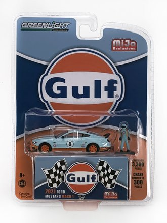 """1:64 2021 Ford Mustang Mach 1 """"Gulf"""" w/Driver Figure"""