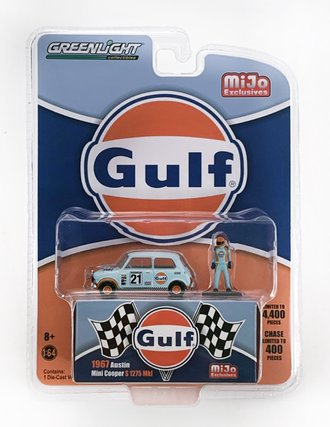 "1:64 1967 Austin Mini Cooper ""Gulf"" w/Driver Figure"