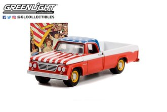"""1:64 Norman Rockwell Series 4 - 1962 Dodge D-200 Pickup Truck """"Patriotic"""" (Red/White/Blue)"""