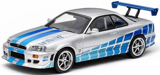 1:43 2 Fast 2 Furious (2003) - 1999 Nissan Skyline GT-R (Silver w/Blue Stripes)