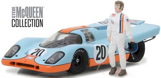 """1:43 Steve McQueen Collection (1930-80) 1970 Porsche 917K """"Gulf Oil"""" w/Steve McQueen Figure"""