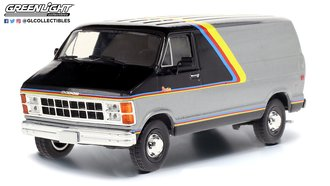 1:43 1980 Dodge Ram B250 Van (Silver/Black w/Yellow/Red/Blue Stripes)