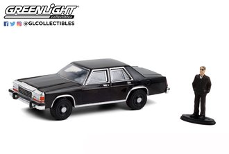 1:64 The Hobby Shop Series 10 - 1987 Ford LTD Crown Victoria (Black w/Man in Black Suit)