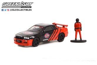 """1:64 The Hobby Shop Series 13 - 1999 Nissan Skyline (R34) """"Pennzoil"""" w/Race Car Driver"""