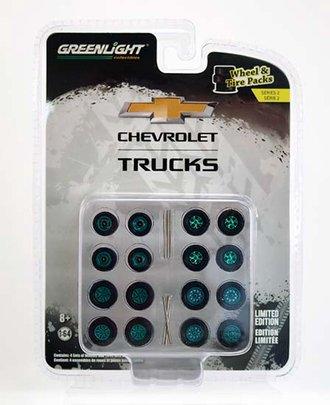 "Chase 1:64 Auto Body Shop - Wheel & Tire Packs Series 2 ""Chevrolet Trucks"""