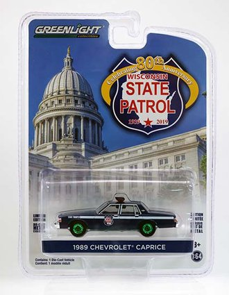 """Chase 1:64 1989 Chevrolet Caprice """"Wisconsin State Patrol 80th Anniversary"""""""