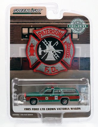 "Chase 1:64 1985 Ford LTD Crown Victoria Wagon ""Patterson, NJ Fire Dept."" *** Green Body ***"