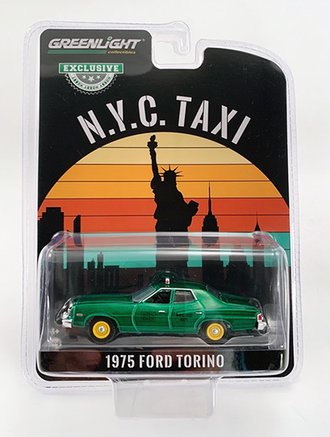 """Chase 1:64 1975 Ford Torino """"NYC Taxi"""" *** GREEN Body ***"""