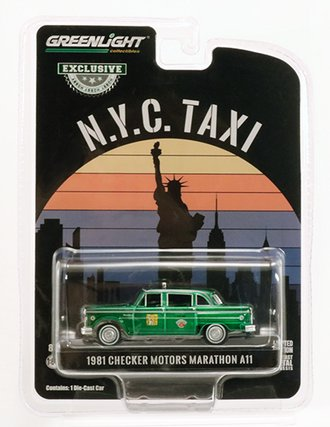 "Chase 1:64 1981 Checker Motors Marathon A11 Taxi ""New York City"" *** GREEN Body ***"
