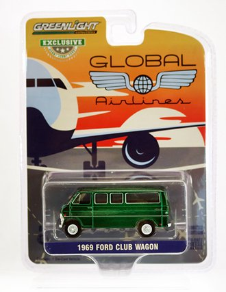 """Chase 1:64 1969 Ford Club Wagon """"Global Airlines"""" *** Green Body ***"""