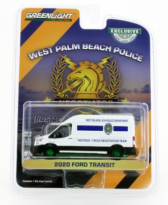 """Chase 1:64 2020 Ford Transit LWB High Roof """"West Palm Beach, FL PD Hostage/Crisis Negotiation Team"""""""