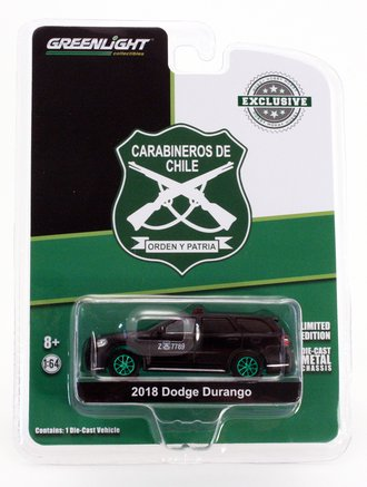 Chase 1:64 2018 Dodge Durango Police - Carabineros de Chile - Public Order (Matte Black) (Hobby Exclusive)