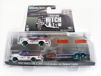 """Chase 1:64 1991 Ford F-150 w/Flatbed Trailer & 1991 Ford Bronco """"BFGoodrich Rough Riders"""""""