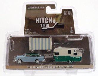 Chase 1:64 1955 Chevrolet Nomad and Shasta Airflyte w/Awning *** GREEN Body ***
