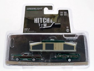 Chase 1:64 1981 Ford LTD Country Squire and Pop-Up Camper Trailer *** GREEN Body Trim ***